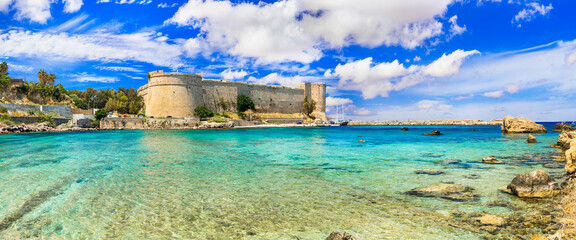Landmarks of Cyprus island - old medieval fortress castle in Kyrenia, Turkish part