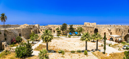 Landmarks of Cyprus island - ruins of old fortress castle in Kyrenia town, Turkish part