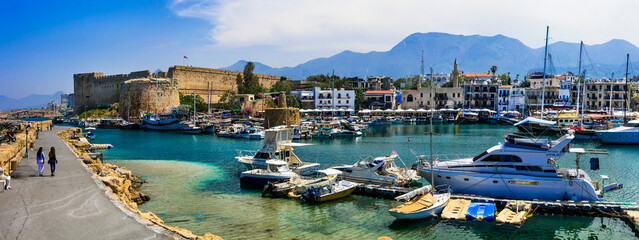Cyprus landmarks - old town of Kyrenia (Girne) turkish part of island. Marine with castle. april 2018