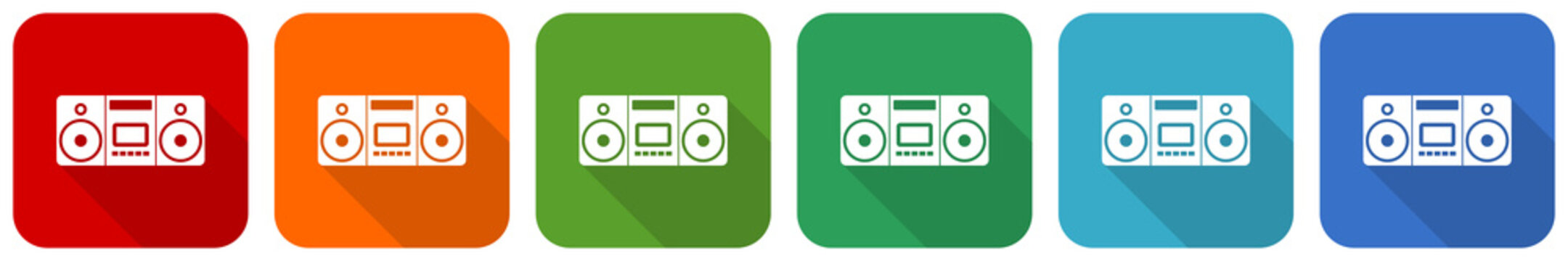 Music, stereo portable equipment icon set, flat design vector illustration in 6 colors options for webdesign and mobile applications