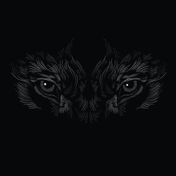 The Vector logo animal eyes  for tattoo or T-shirt design or outwear.  Cute print styleanimals eye background. This hand drawing would be nice to make on the black fabric or canvas.