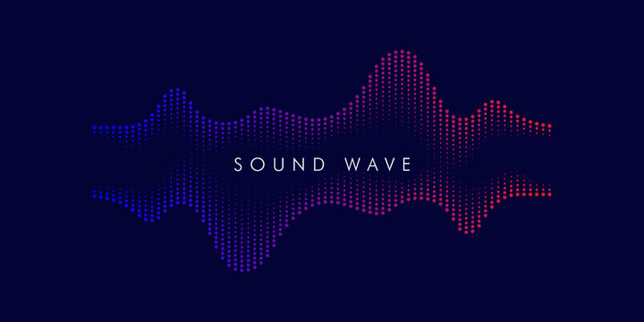 Vector abstract background with dot spiral sound wave, line and particles. Vector Illustration