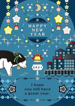 2021年丑年イラスト年賀状デザイン「願いを込める牛とキラキラ星夜空の牡牛座」HAPPY NEW YEAR (year of the ox illustration new year's card greeting post card design cow make a wish and Taurus in the glitter starry night sky happy new year)
