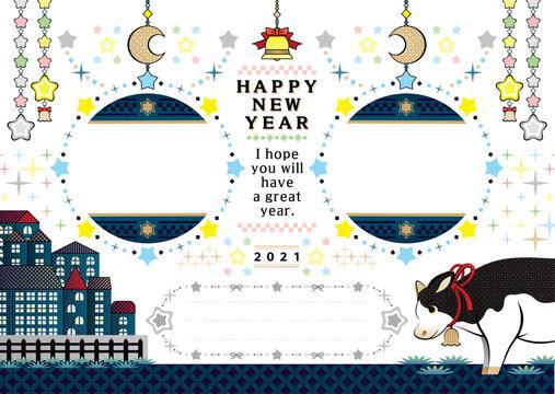 2021年丑年イラスト年賀状デザイン「牛とキラキラ輝く星空の牡牛座フレーム枠」HAPPY NEW YEAR (year of the ox illustration new year's card greeting post card design cow and Taurus in the twinkle starry sky frame happy new year)