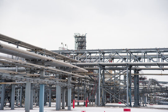 Oil and gas industrial. Oil refinery plant form industry