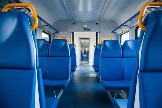 Inside the suburban electric train