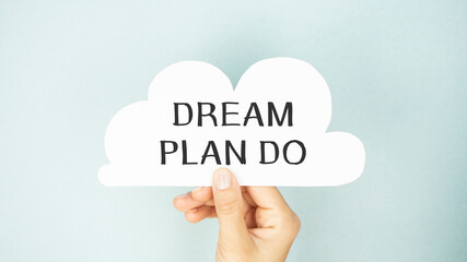 Dream Plan Do card isolated on white background