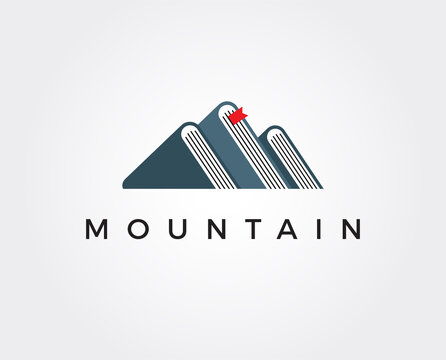 minimal mountain book logo template - vector illustration