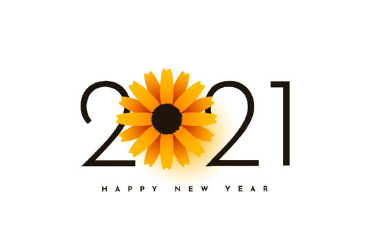 2021 happy new year with sunflower