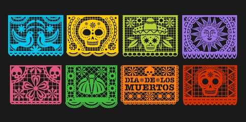Photo sur Plexiglas Dinosaurs Paper flags, vector Mexican Day of the Dead papel picado bunting. Mexico Dia de los Muertos or Halloween holiday garland with cut out ornaments of skeleton skull, sombrero, marigold flower and bird