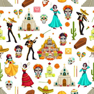 Day of Dead sugar skulls, marigolds and sombreros seamless pattern. Dia de los Muertos vector background of mariachi and flamenco dancer skeletons with guitars, altar and churches, maracas and tequila