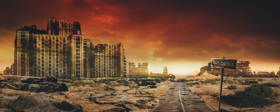 Evening post apocalyptic background image of desert city wasteland with abandoned and destroyed buidings, cracked road and sign.