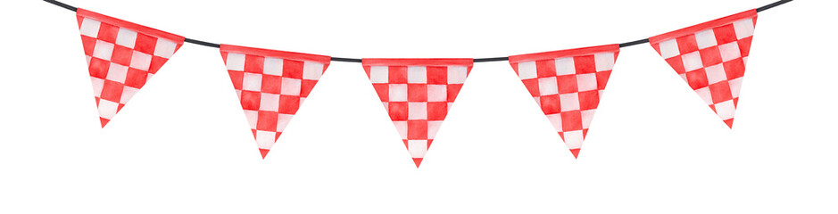 Water color illustration of bright festive bunting with triangular flags and red and white checkered pattern. Handdrawn watercolour graphic painting, cutout clip art element for design decoration.