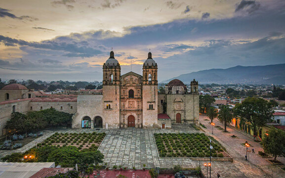A sunset view of Oaxaca City, Mexico in the Convento de Santo Domingo from a Drone