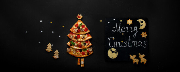 Pieces of pizza set like christmas tree