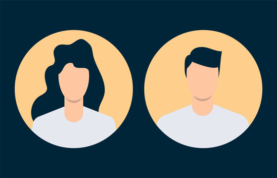 Simple avatars of man and woman. Flat design. Vector illustration