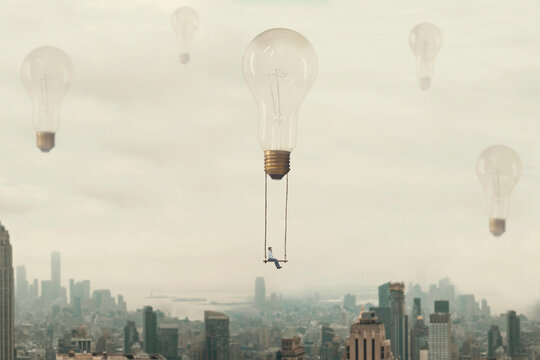 surreal moment of a woman traveling on a swing carried by a light bulb over a metropolis