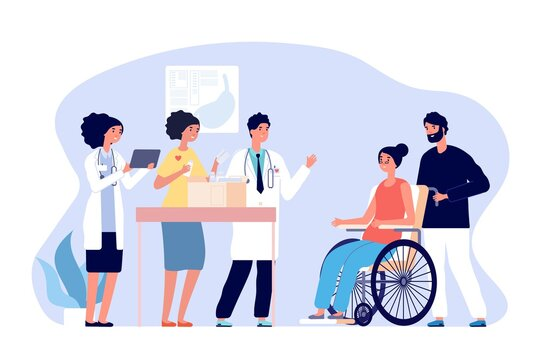 Volunteer doctors. Medical humanitarian aid, donations drugs for patients. Medical team gift medicines for disabled woman vector concept. Illustration support and donation, box charity