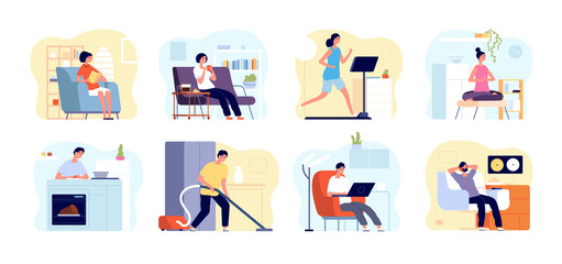 Photo sur Plexiglas Dinosaurs People relax home. Man read book, apartments interiors with leisuring persons. Weekend time, home yoga meditation, cooking vector concept. Home weekend, leisure read book or listen music illustration