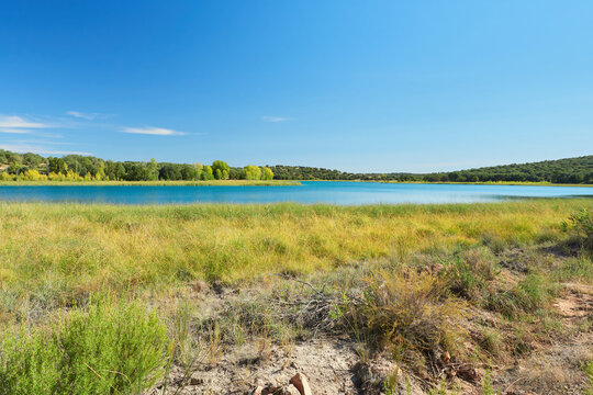 Landscape view of the Laguna Conceja Lake in the Lagunas de Ruidera Lakes Natural Park, Albacete province, Castilla la Mancha, Spain