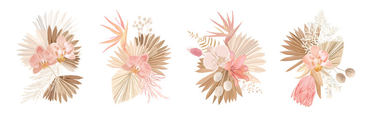 Elegant Dry flowers, palm leaves, pale orchid, protea, eucalyptus, dried tropical leaves, floral elements. Trendy winter Wall mural