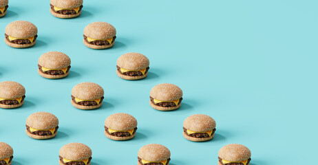Fast food pattern of cheese burger on blue background. 3d illustration