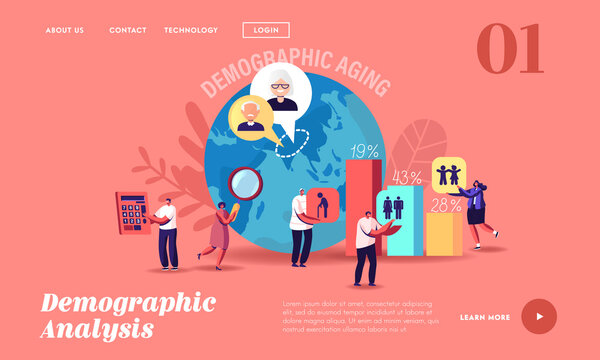 Demographic Aging Statistics Data Landing Page Template. Young, Adult and Old Human Ages in World and Countries