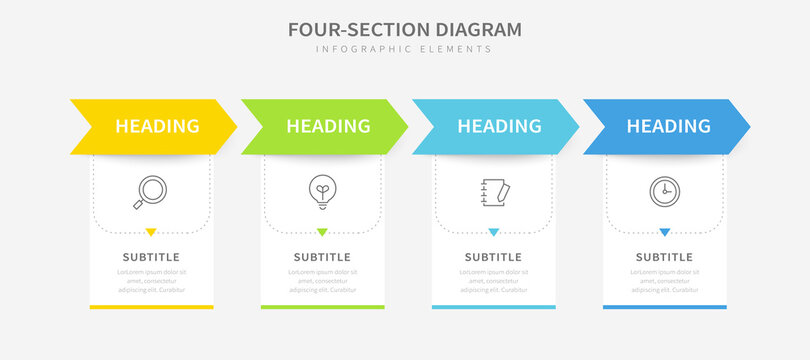 Four section diagram infographics