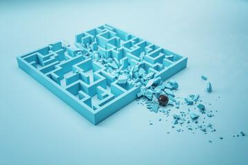 Black ball breaks blue labyrinth.