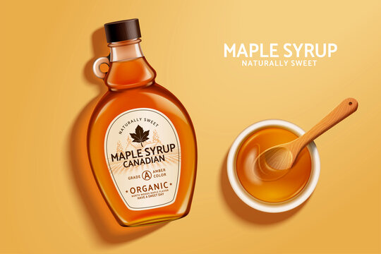 Top view of maple syrup bottle