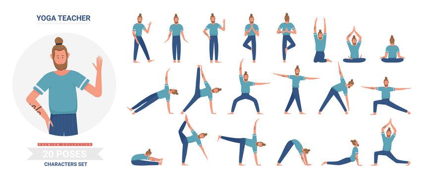 Yoga teacher poses vector illustration set. Cartoon flat yogist man character doing yogi asana exercise, meditating, sitting in lotus posture, infographic relaxation activity routine isolated on white