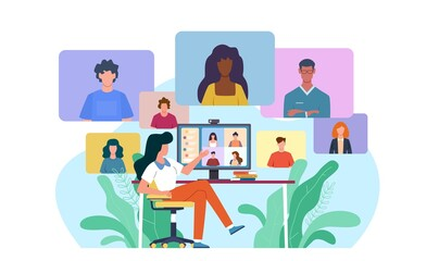 Fototapeta Video conference. Woman at desk provides collective virtual chat. Online business meeting working team webinar with specialist home office during covid-19 quarantine vector concept obraz
