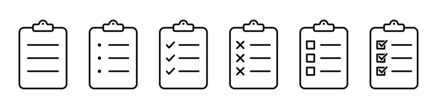 Checklist clipboard vector icon. check list sign outline isolated on white background. clip board or pad symbol. complete document page, quality test mark. website stock illustration