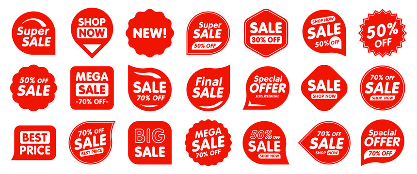 Set of Sale badges. Sale quality tags and labels. Template banner shopping badges. Special offer, sale, discount, shop, black friday. Vector illustration.
