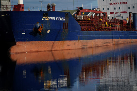 Chemical and oil tanker called the 'Corrib Fisher' is seen docked at the Port of Galway