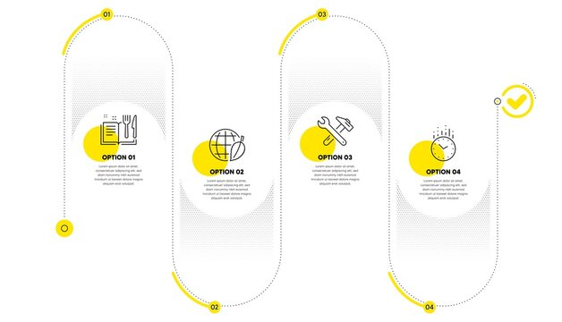 Recipe book, Environment day and Spanner tool line icons set. Timeline process infograph. Time sign. Food, Safe world, Repair. Clock. Business set. Infographics plan timeline. Vector