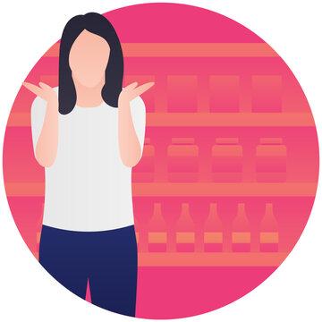 Human avatar in supermarket holding wine or liquor bottle, wine shop icon