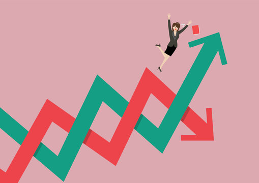 Business woman losing her balance on stock market fluctuation arrow