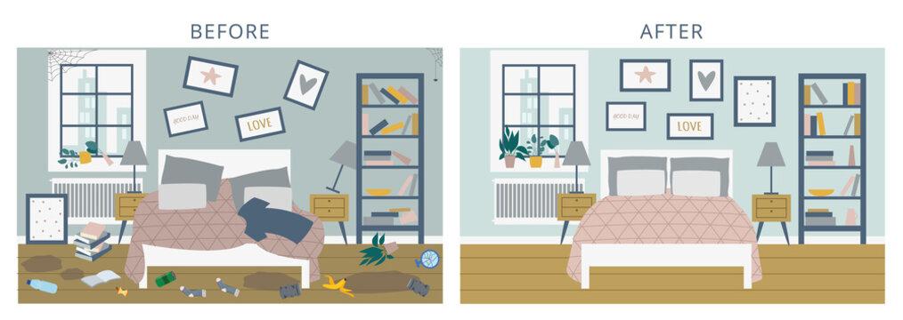 Before versus after bedroom comparison, flat cartoon vector illustration