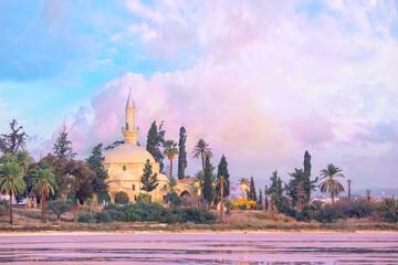 Hala Sultan Tekke Mosque on shore of salt lake in Larnaca, Cyprus Wall mural