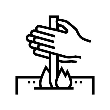 making fire by friction line icon vector. making fire by friction sign. isolated contour symbol black illustration