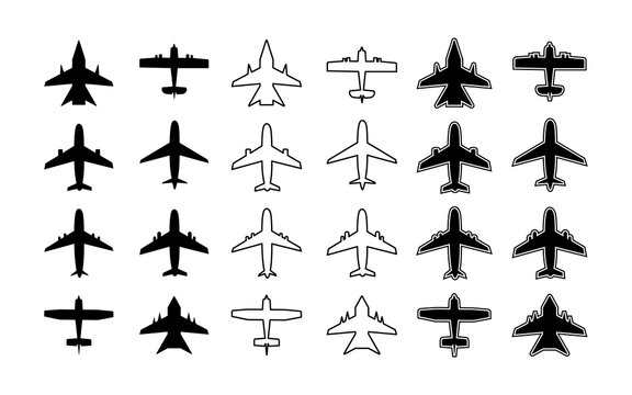 Plane icon. Silhouette of airplane. Outline aircraft for travel, transport, cargo and military. Symbol for airplain. Simple white and black graphic aeroplane. Shape of jet flight. Art for air. Vector
