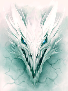 Ice dragon in white stone digital painting