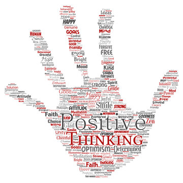 Vector conceptual positive thinking, happy strong attitude hand print stamp word cloud isolated on background. Collage of optimism smile, faith, courageous goals, goodness or happiness inspiration