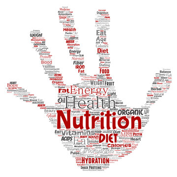 Vector conceptual nutrition health diet hand print stamp word cloud isolated background. Collage of carbohydrates, vitamins, fat, weight, energy, antioxidants beauty mineral, protein medicine concept
