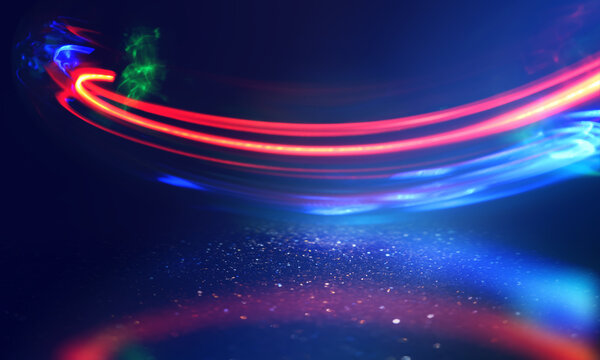 Multicolored neon shapes on a dark abstract background. Empty scene background, blurred neon ultraviolet light, bokeh.