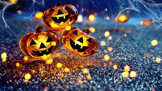 Neon glowing pumpkin head on abstract blurred bokeh background. Festive Halloween background with cobwebs and pumpkin.