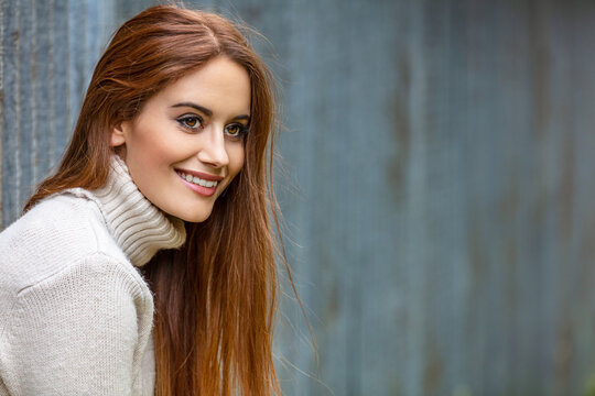 Beautiful Young Woman Red Head Girl Happy Smiling