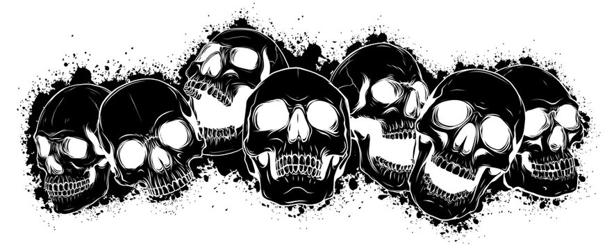 black silhouette vector skull and crossbones. human skulls and bones with shallow depth of field
