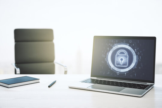 Creative lock sketch with chip hologram on modern computer monitor, protection of personal data concept. 3D Rendering